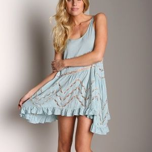 Free People RARE sky/baby blue voile and lace slip